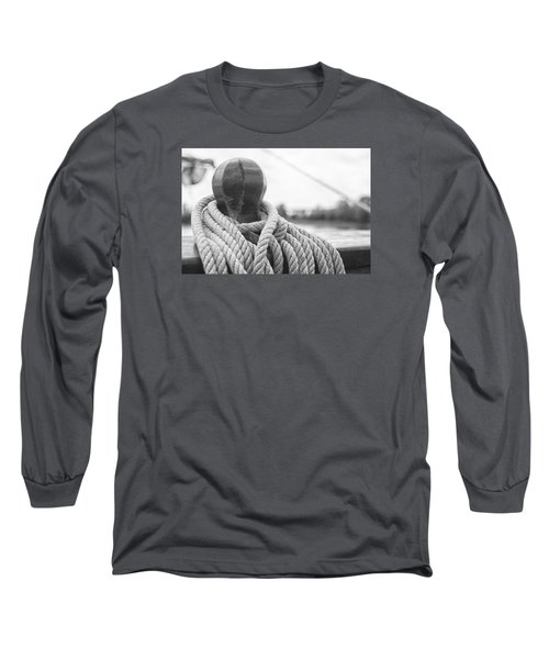 Long Sleeve T-Shirt featuring the photograph Beneath The Sail Coiled Rope by Bob Decker