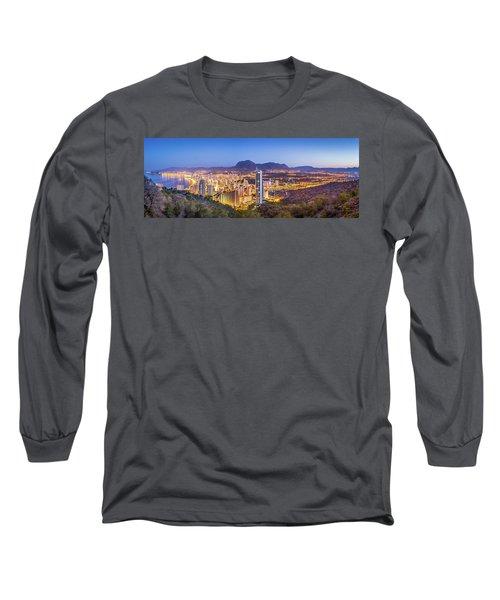Benidorm At Sunrise, Spain. Long Sleeve T-Shirt