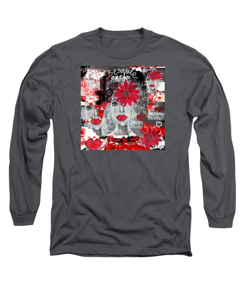 Long Sleeve T-Shirt featuring the painting Besame Mucho by Sladjana Lazarevic