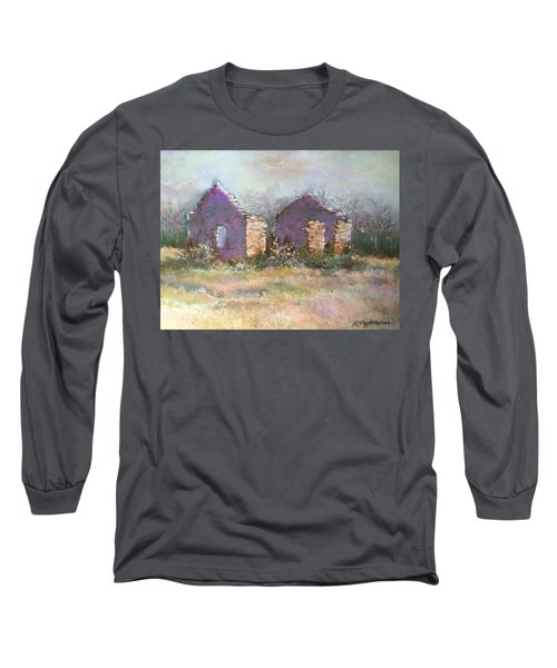 Long Sleeve T-Shirt featuring the pastel Bethel School At Sunset by Rebecca Matthews