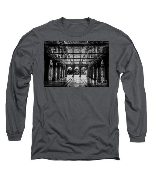 Bethesda Terrace Arcade 2 - Bw Long Sleeve T-Shirt by James Aiken