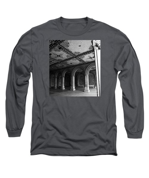 Bethesda Terrace Arcade In Central Park - Bw Long Sleeve T-Shirt by James Aiken