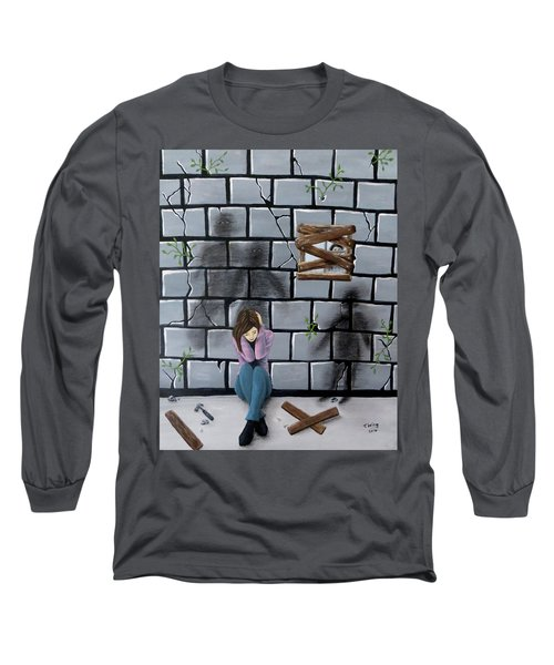 Long Sleeve T-Shirt featuring the painting Beyond The Wall by Teresa Wing