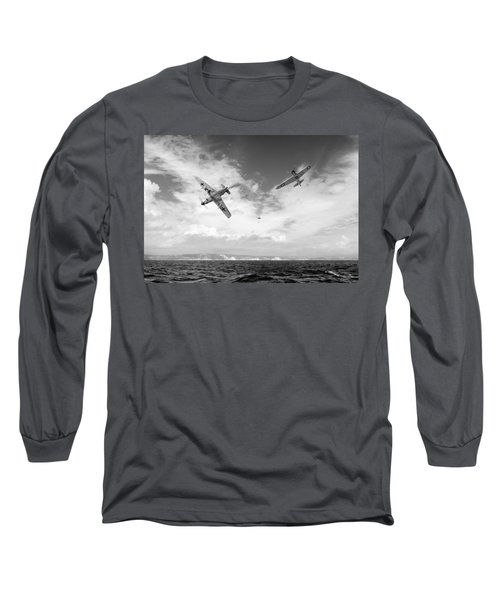 Long Sleeve T-Shirt featuring the photograph Bf109 Down In The Channel Bw Version by Gary Eason