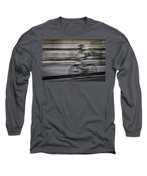 Bicycle Rider Abstract Long Sleeve T-Shirt