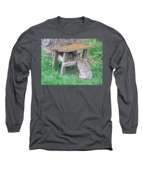Big Eyed Rabbit Eating Birdseed Long Sleeve T-Shirt