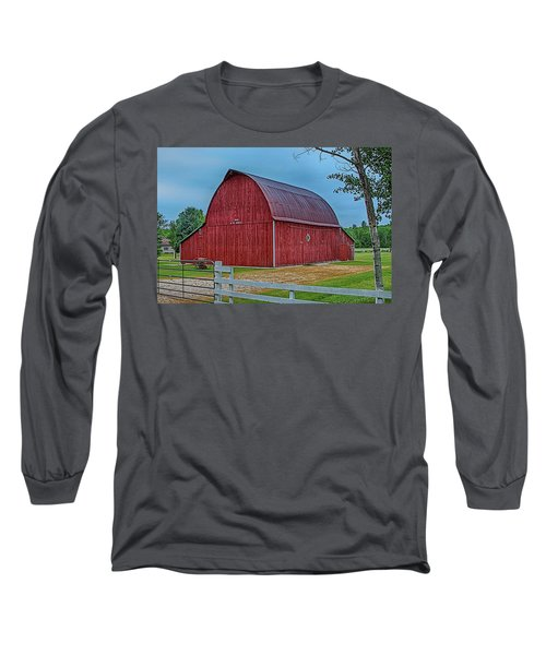 Long Sleeve T-Shirt featuring the photograph Big Red Barn At Cross Village by Bill Gallagher