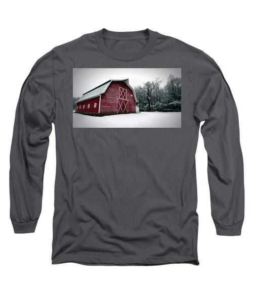Big Red Barn In Snow Long Sleeve T-Shirt