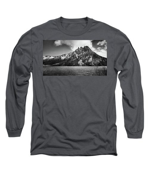 Big Snowy Mountain In Black And White Long Sleeve T-Shirt