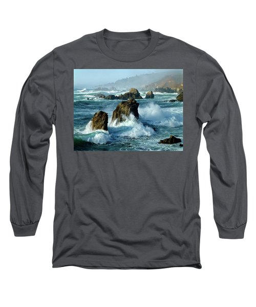 Big Sur Winter Wave Action Long Sleeve T-Shirt by Amelia Racca