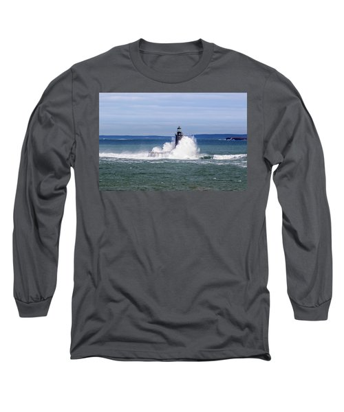 Big Wave Hits Ram Island Ledge Light Long Sleeve T-Shirt