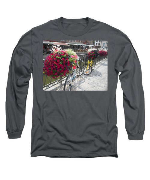 Bike And Flowers Long Sleeve T-Shirt by Therese Alcorn