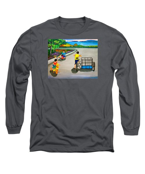 Long Sleeve T-Shirt featuring the painting Bikes by Cyril Maza