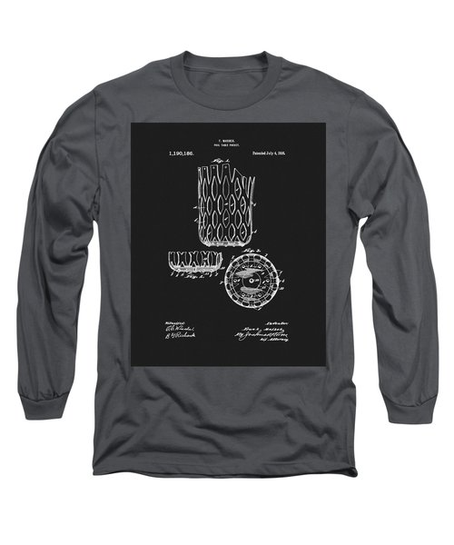 Long Sleeve T-Shirt featuring the mixed media Billiards Table Pocket Patent by Dan Sproul