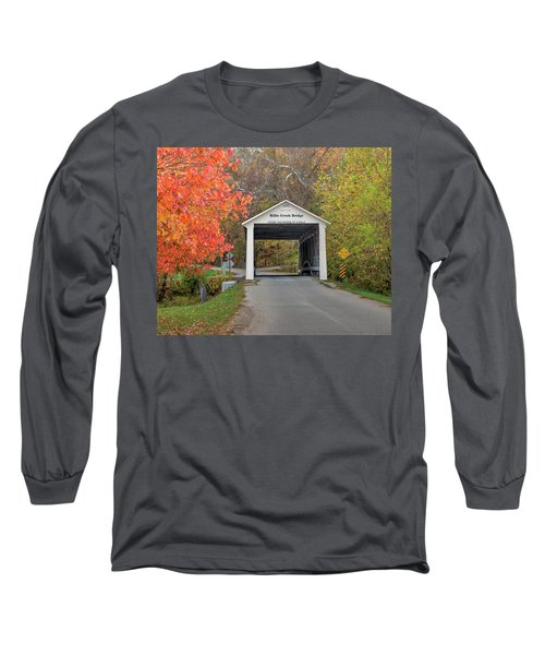 Long Sleeve T-Shirt featuring the photograph Billie Creek Covered Bridge by Harold Rau