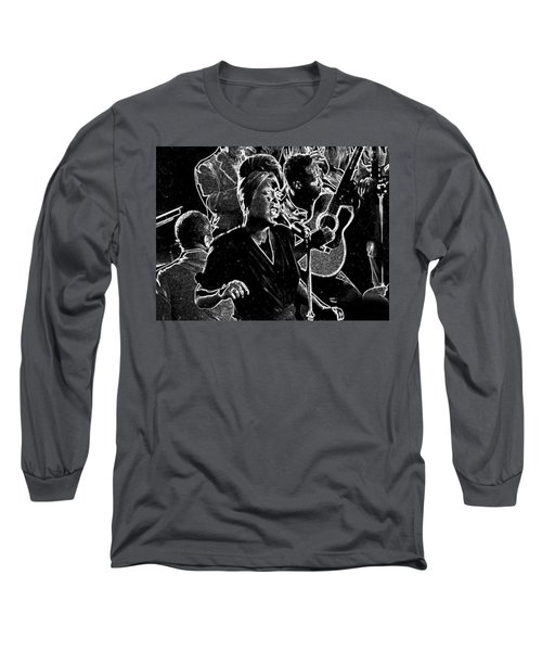 Long Sleeve T-Shirt featuring the mixed media Billie Holiday by Charles Shoup