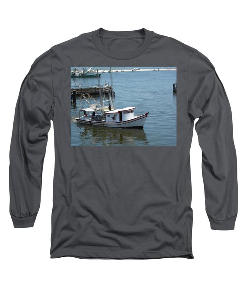 Bilouxi Shrimp Boat Long Sleeve T-Shirt by Cynthia Powell