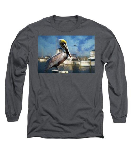 Biloxi Harbor Pelican Long Sleeve T-Shirt