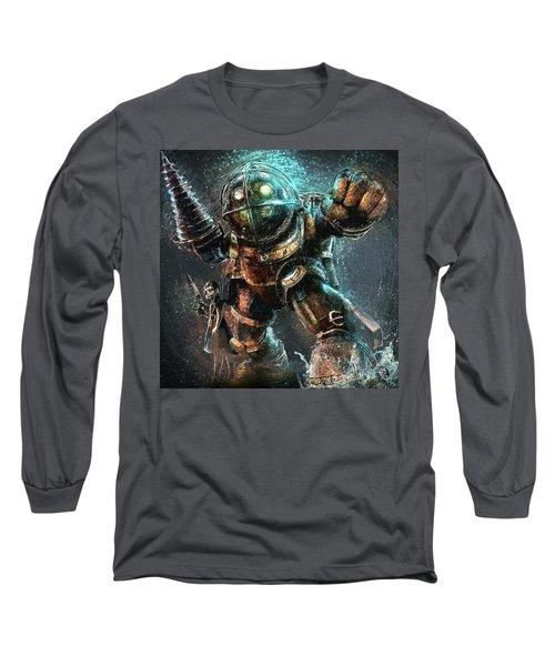 Long Sleeve T-Shirt featuring the digital art Bioshock by Taylan Apukovska