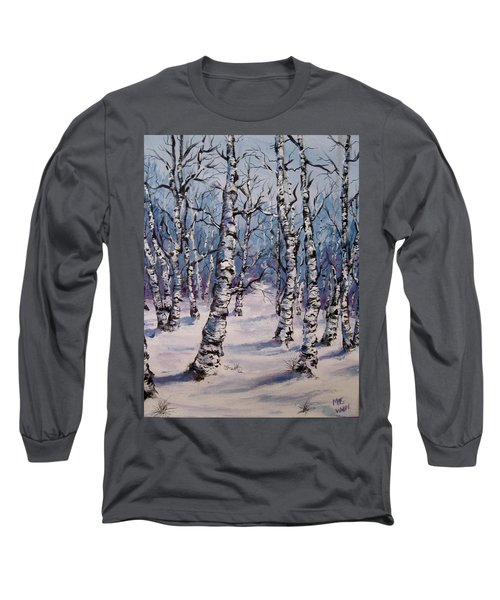 Birch Forest  Long Sleeve T-Shirt by Megan Walsh