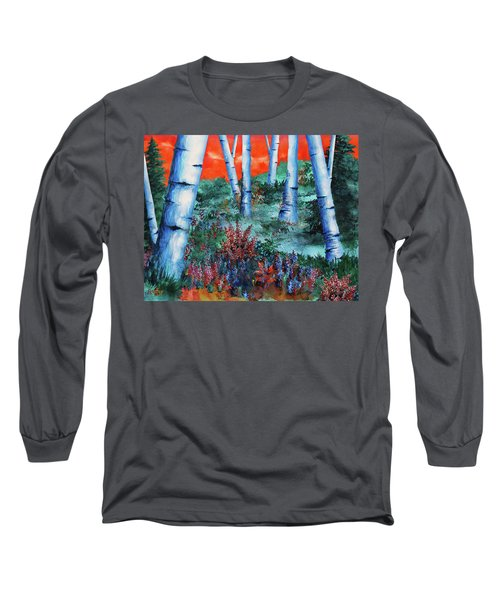 Long Sleeve T-Shirt featuring the painting Birch Trees At Sunset by Curtiss Shaffer