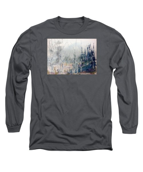 Birches In Haze  Naim's Enchatned Forest Long Sleeve T-Shirt