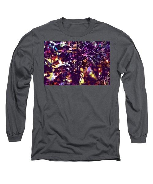 Long Sleeve T-Shirt featuring the digital art Bird Chickadee Black  by PixBreak Art