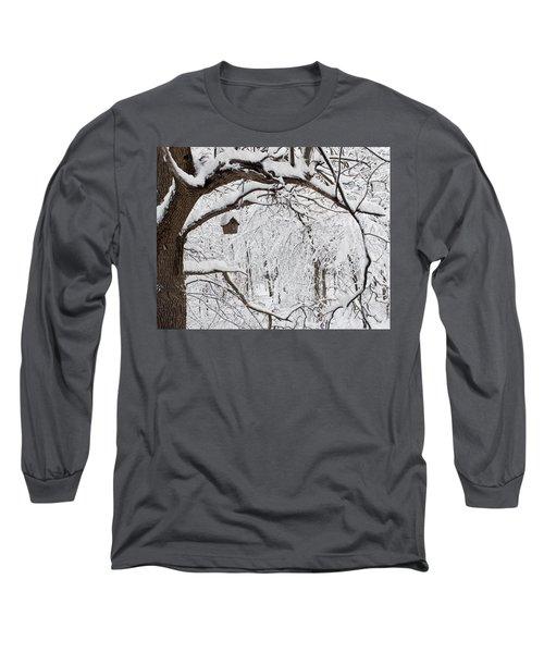 Bird House In Snow Long Sleeve T-Shirt