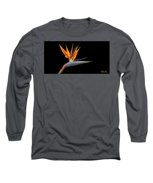 Bird Of Paradise Flower On Black Long Sleeve T-Shirt