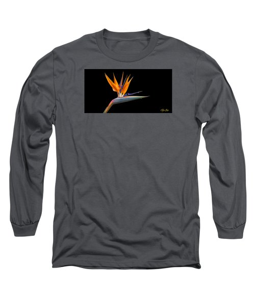 Bird Of Paradise Flower On Black Long Sleeve T-Shirt