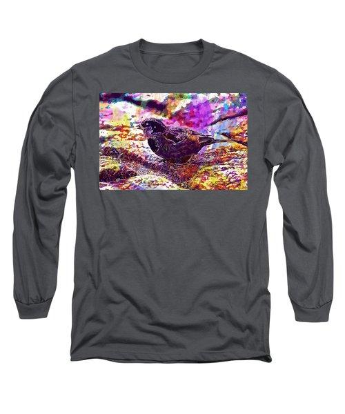 Long Sleeve T-Shirt featuring the digital art Bird The Sparrow Nature Pen  by PixBreak Art
