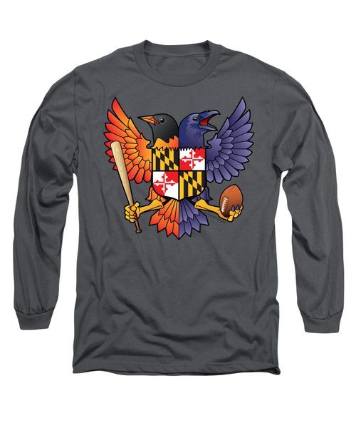 Birdland Baltimore Raven And Oriole Maryland Shield Long Sleeve T-Shirt