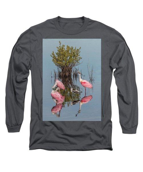 Birds And Mangrove Bush Long Sleeve T-Shirt