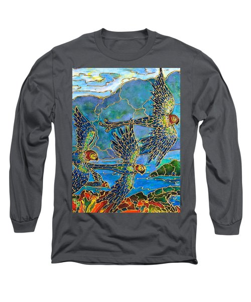 Long Sleeve T-Shirt featuring the painting Birds Of Paradise by Rae Chichilnitsky
