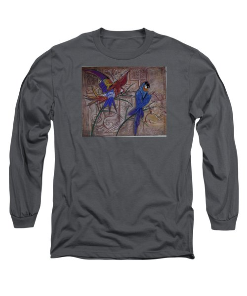 Birds On A Mayan Wall Long Sleeve T-Shirt