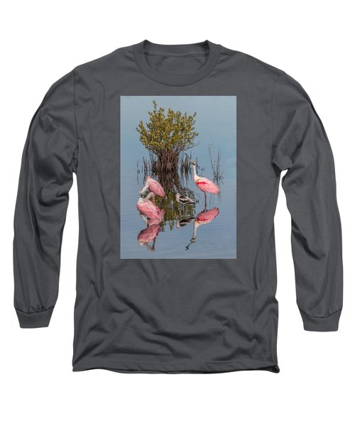 Birds, Reflections, And Mangrove Bush Long Sleeve T-Shirt by Dorothy Cunningham