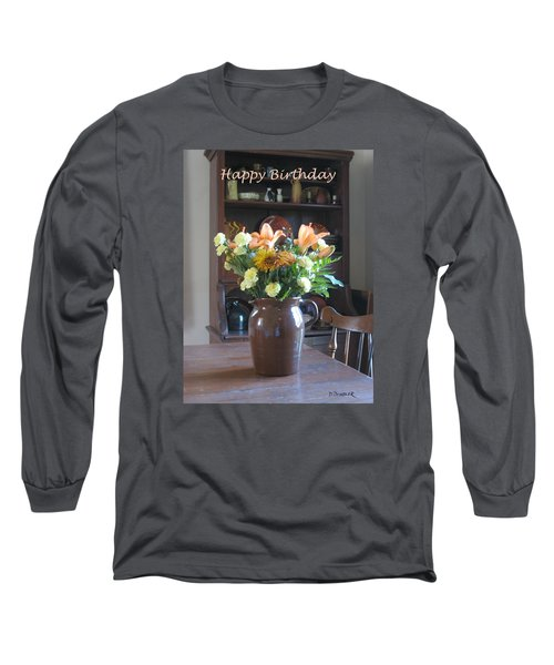 Birthday Jug Of Flowers Long Sleeve T-Shirt by Deborah Dendler