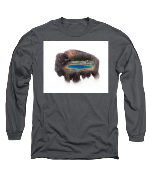 Bison And Great Prismatic Spring Double Exposure Long Sleeve T-Shirt