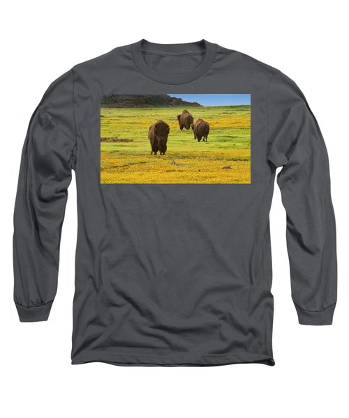 Bison In Wildflowers Long Sleeve T-Shirt