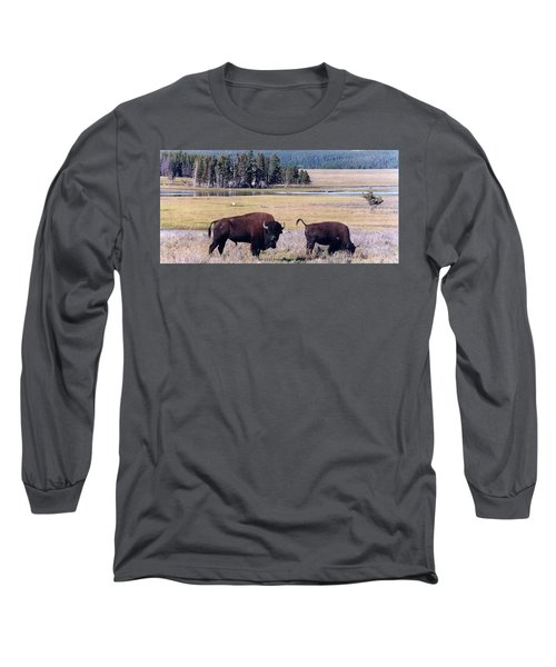 Bison In Yellowstone Long Sleeve T-Shirt