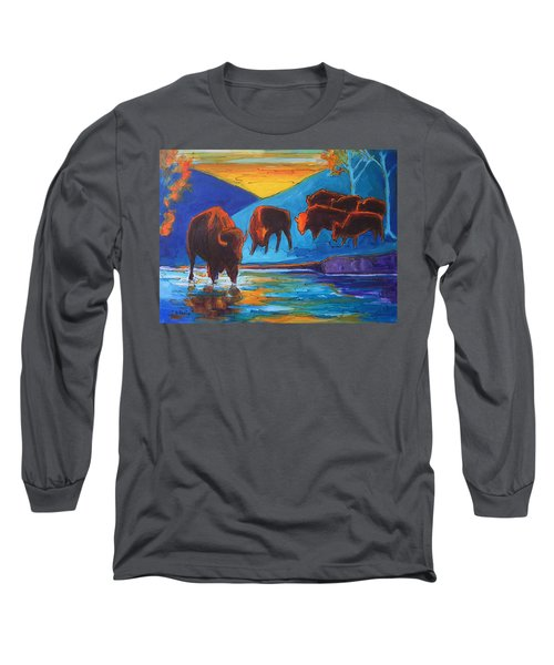 Bison Turquoise Hill Sunset Acrylic And Ink Painting Bertram Poole Long Sleeve T-Shirt by Thomas Bertram POOLE