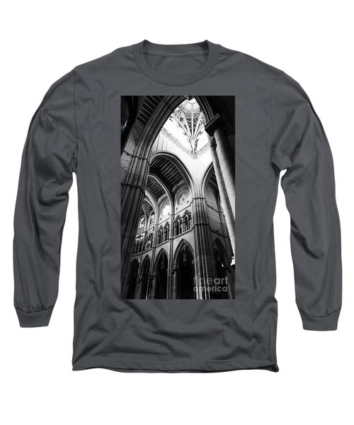 Black And White Almudena Cathedral Interior In Madrid Long Sleeve T-Shirt