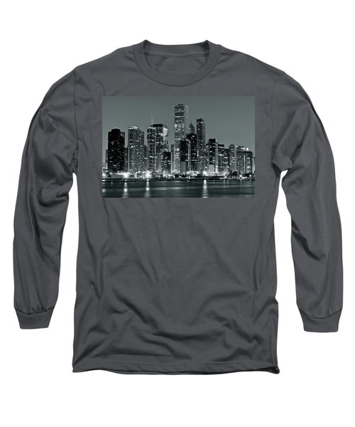 Long Sleeve T-Shirt featuring the photograph Black And White And Grey Chicago Night by Frozen in Time Fine Art Photography