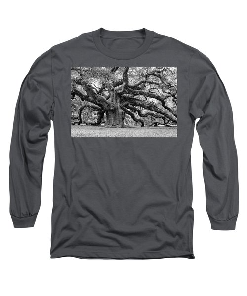 Black And White Angel Oak Tree Long Sleeve T-Shirt