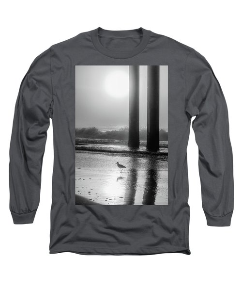 Long Sleeve T-Shirt featuring the photograph Black And White Bird Beach by John McGraw