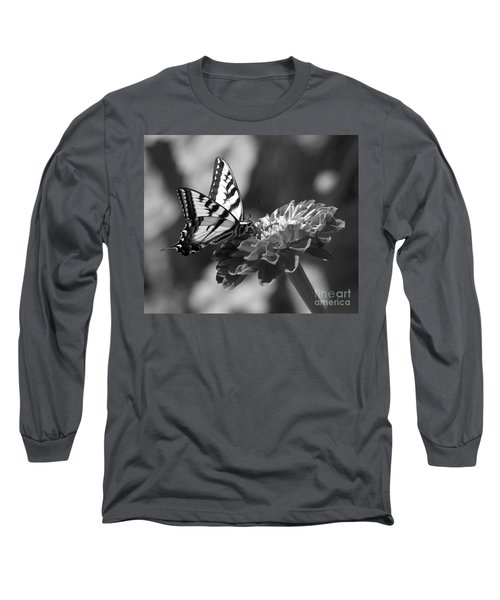 Black And White Butterfly On Zinnia Long Sleeve T-Shirt by Jim And Emily Bush