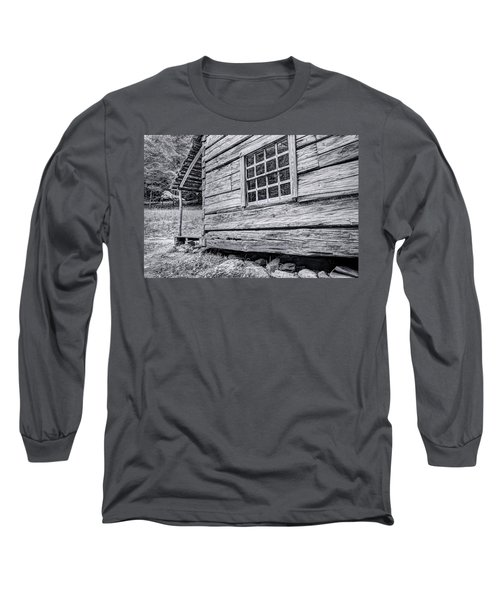 Black And White Cabin In The Forest Long Sleeve T-Shirt