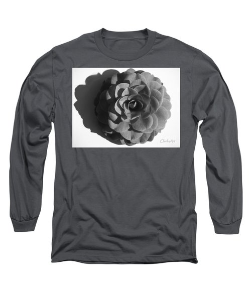 Camellia In Black And White Long Sleeve T-Shirt