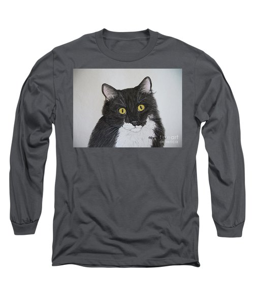 Black And White Cat Long Sleeve T-Shirt by Megan Cohen