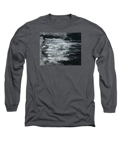 Black And White Fluid Painting Long Sleeve T-Shirt